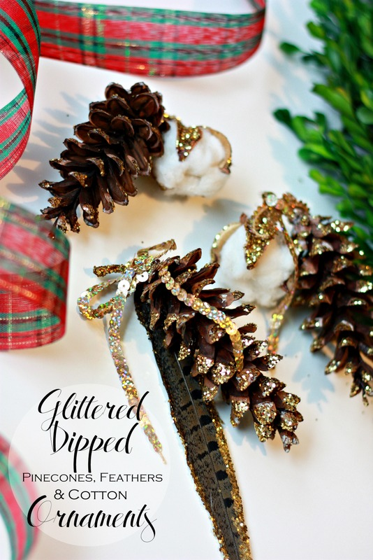 Glittered Dipped Pinecones, Feathers and Cotton Ornaments.  So easy and basically free!