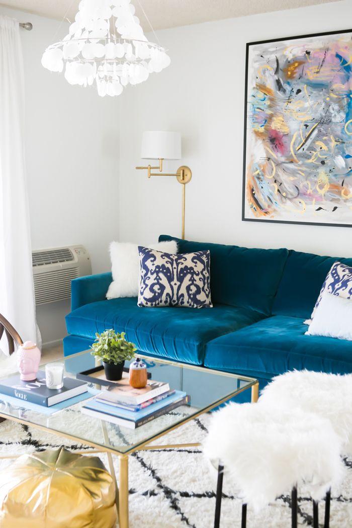 Peacock Blue Velvet Sofa