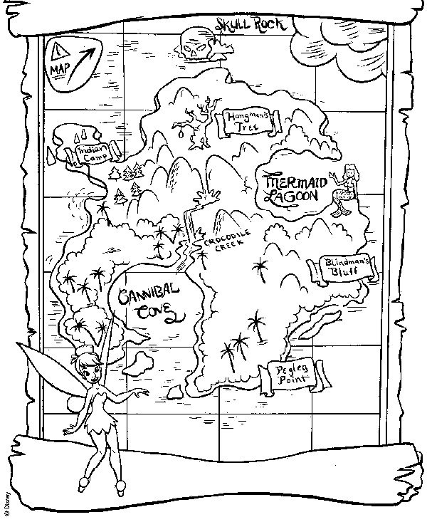 neverland map for peter pan and tinkerbell coloring page - Map Coloring Pages
