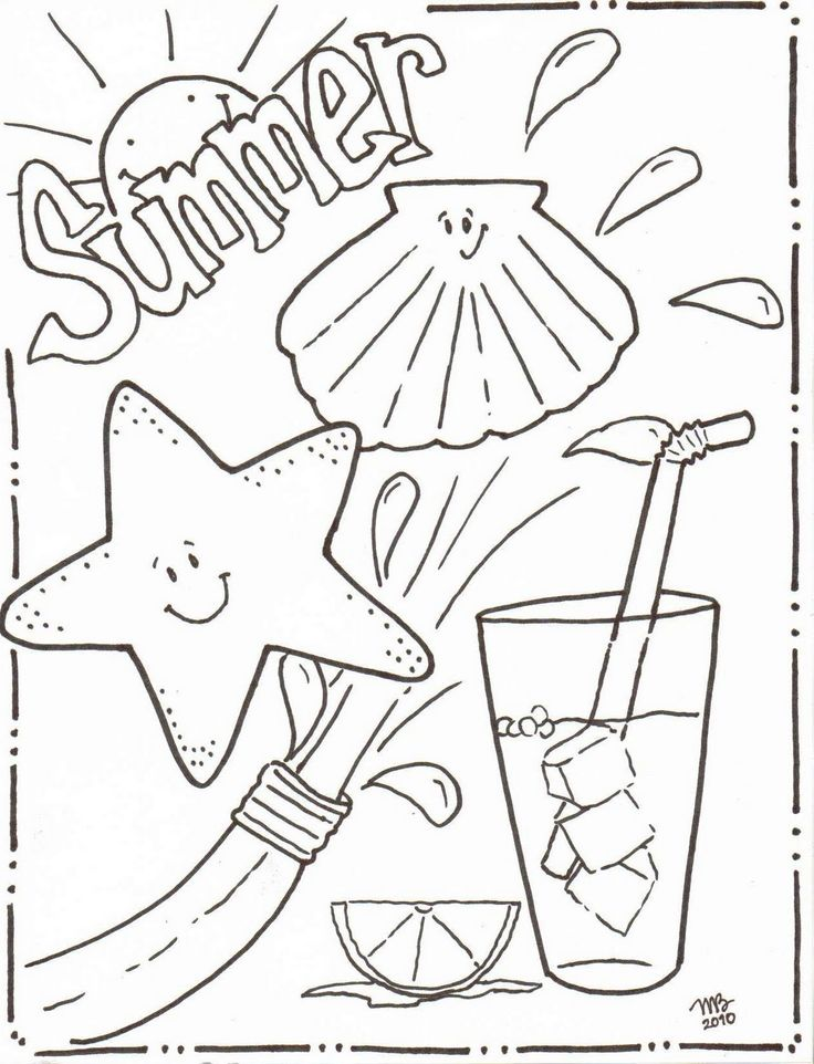 summer beach fun coloring page - Fun Coloring Pages