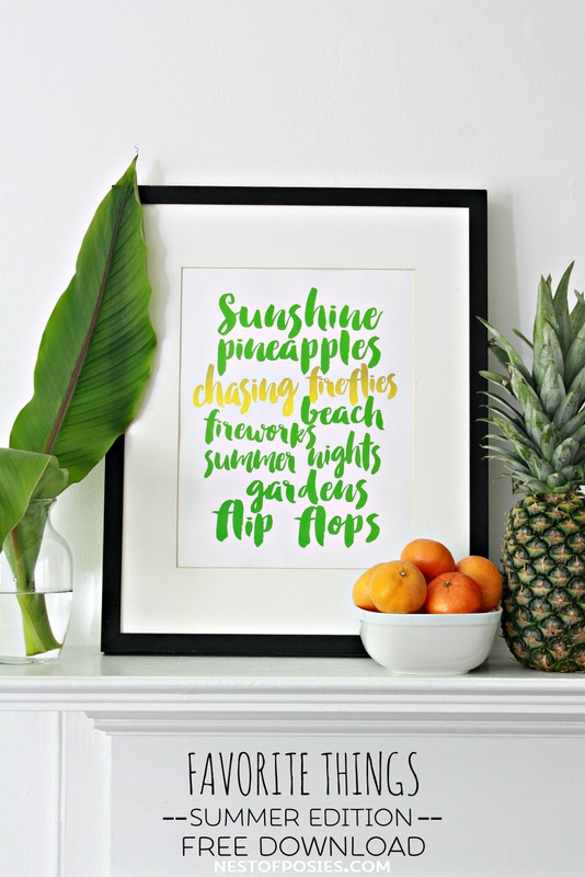 Favorite Things Summer Edition FREE Printable Download.