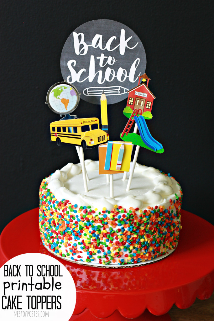 Cake Toppers for Back to School.  Free download