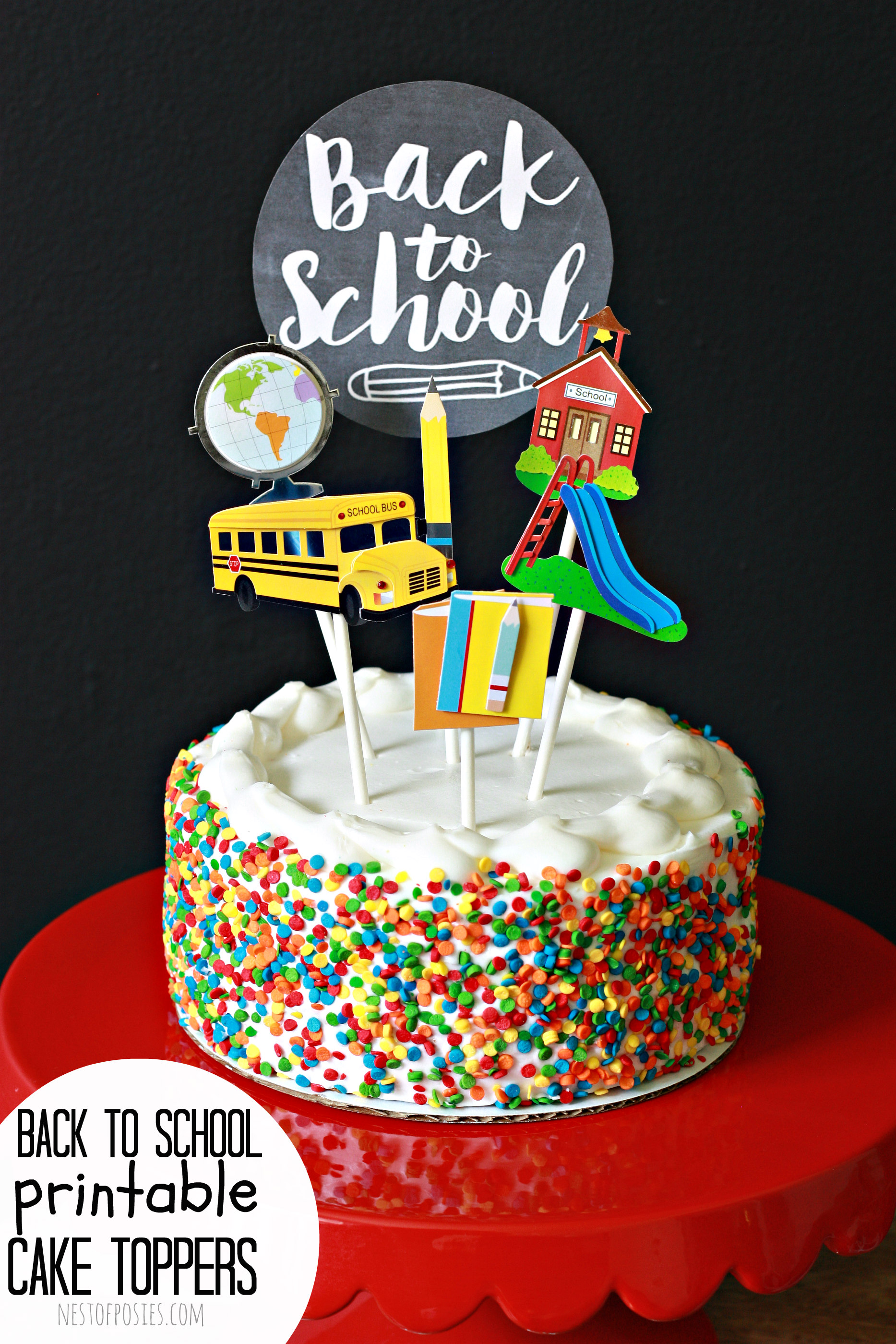 Cake Topper For Back To School Nest Of Posies