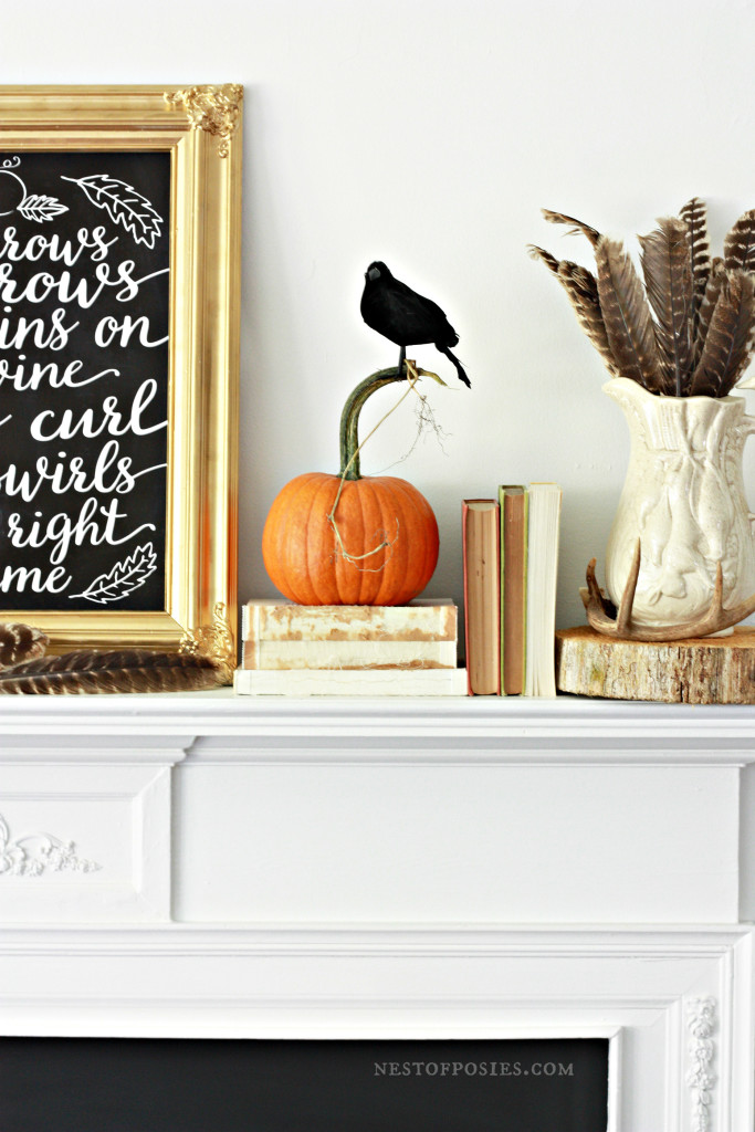 Fall Mantel Display with free chalkboard printable download