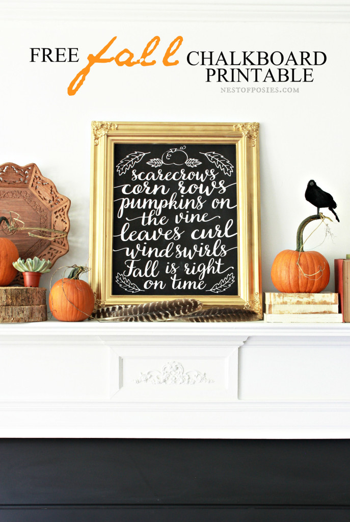 Free Fall Chalkboard Printable Download. Perfect for the mantel or anywhere! In 8x10 & 11x14 in various colors!