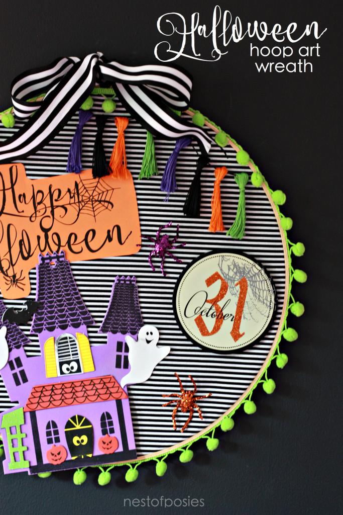 Halloween Hoop Art Wreath. Fun craft idea for kids!