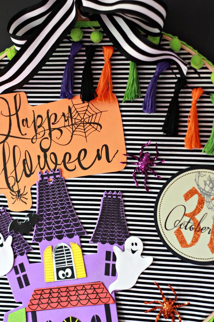 Kids' Halloween Craft Idea. Scrapbook Hoop Art Wreath