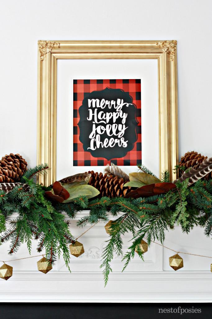 Christmas Mantel with Lumberjack Plaid free printable