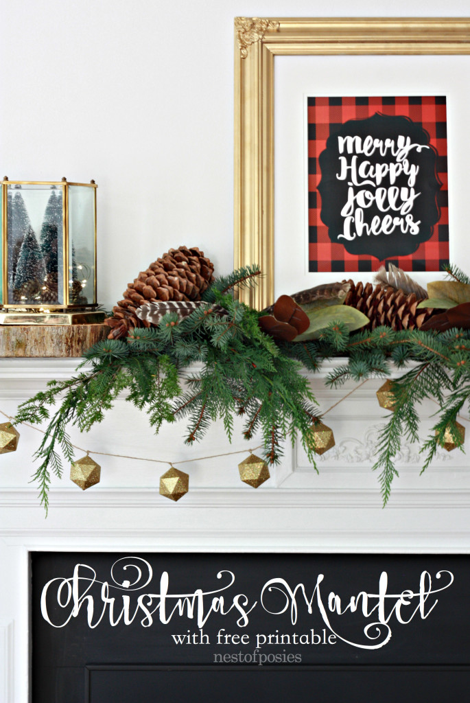 Merry Christmas Mantel with free plaid printable