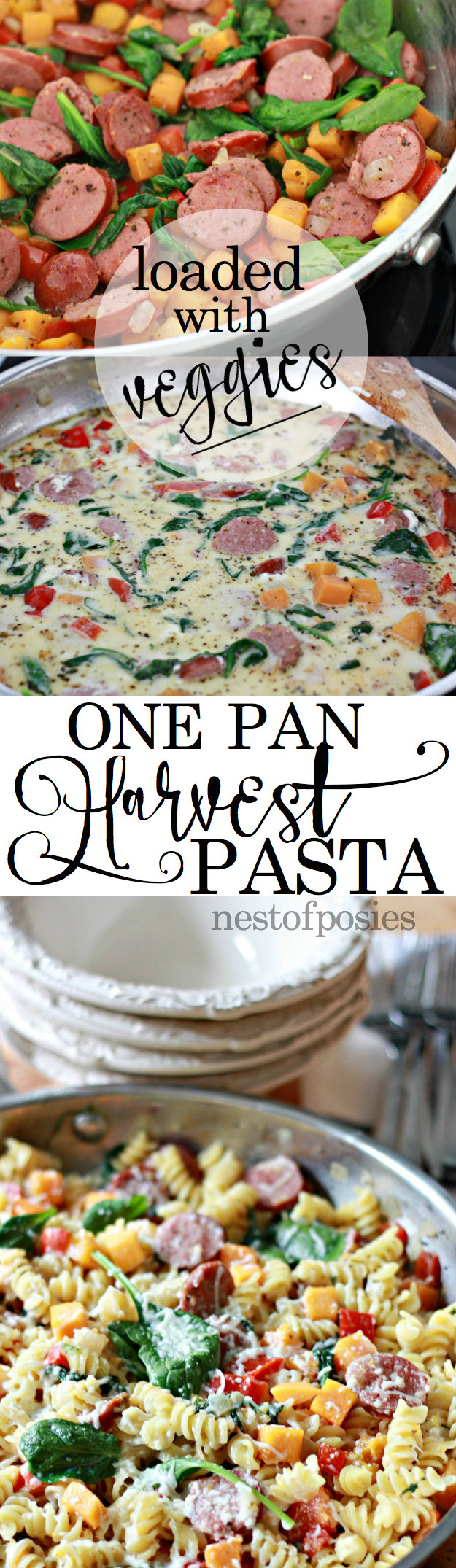 One Pan Harvest Pasta. A hearty meal for your family loaded with good for you veggies!