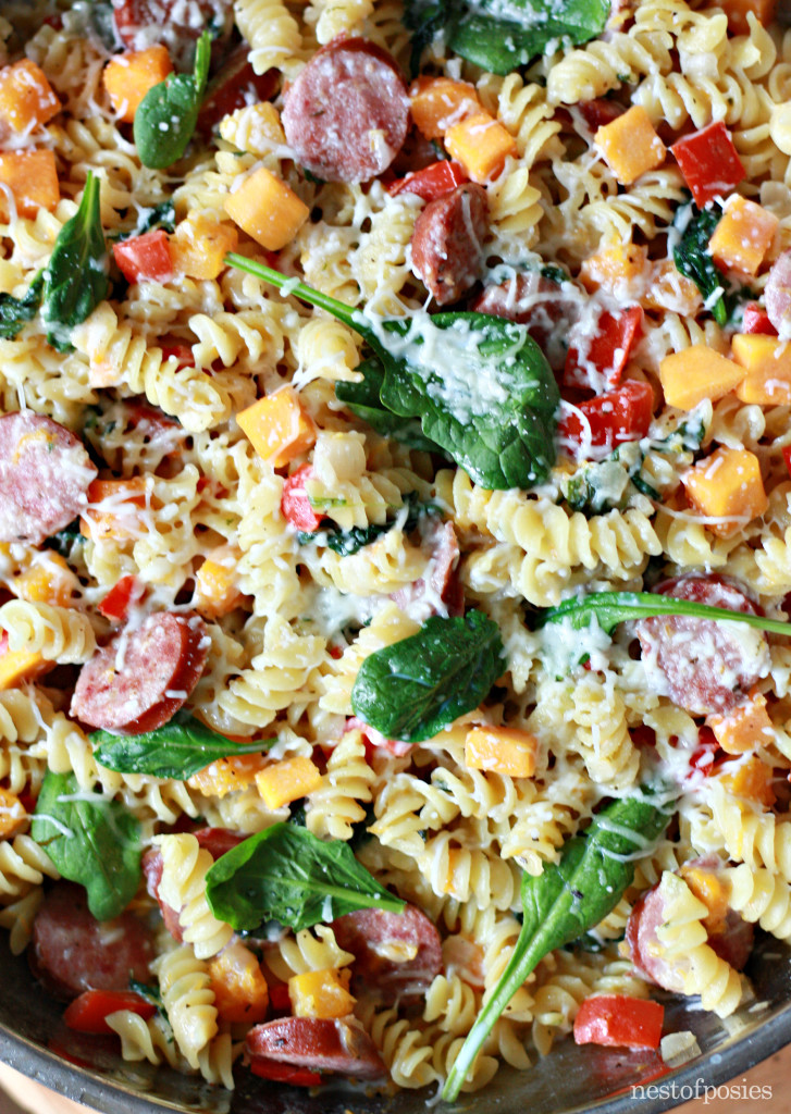 One Pan Harvest Pasta. A hearty meal that will feed a whole family!