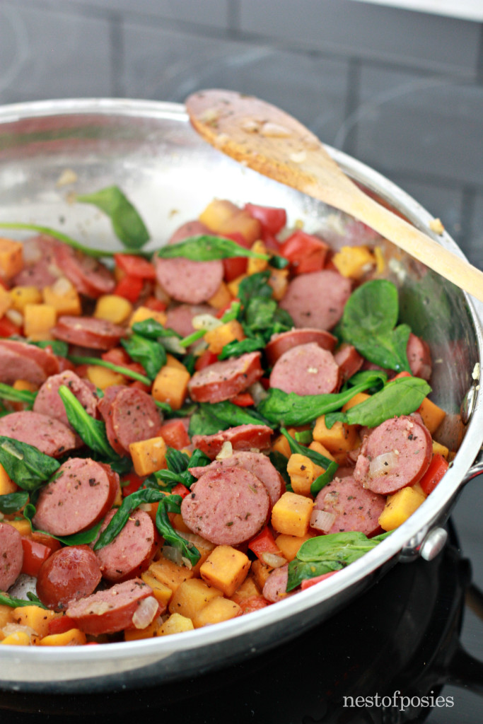 One Pan Harvest Pasta. Simmer all your veggies along with your Smoked Sausage then add your liquid, cheese and pasta.