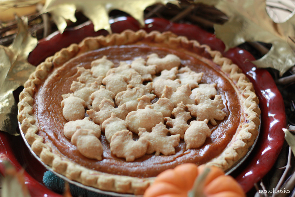Pumpkin Pie with mini cookie cutter toppings