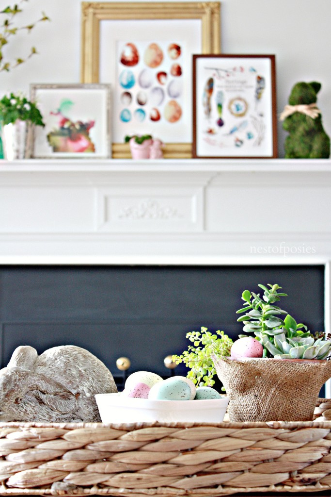 Spring Mantel with 2 free printable downloads