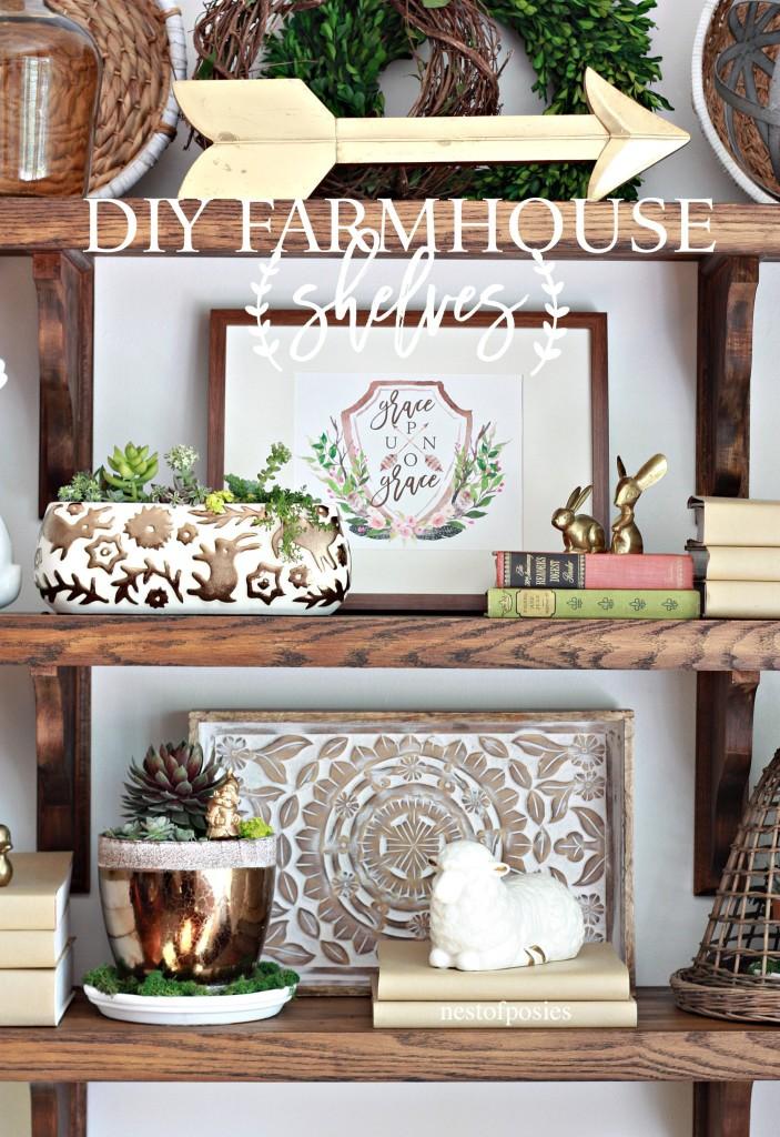 DIY Farmhouse Shelves & styling tips