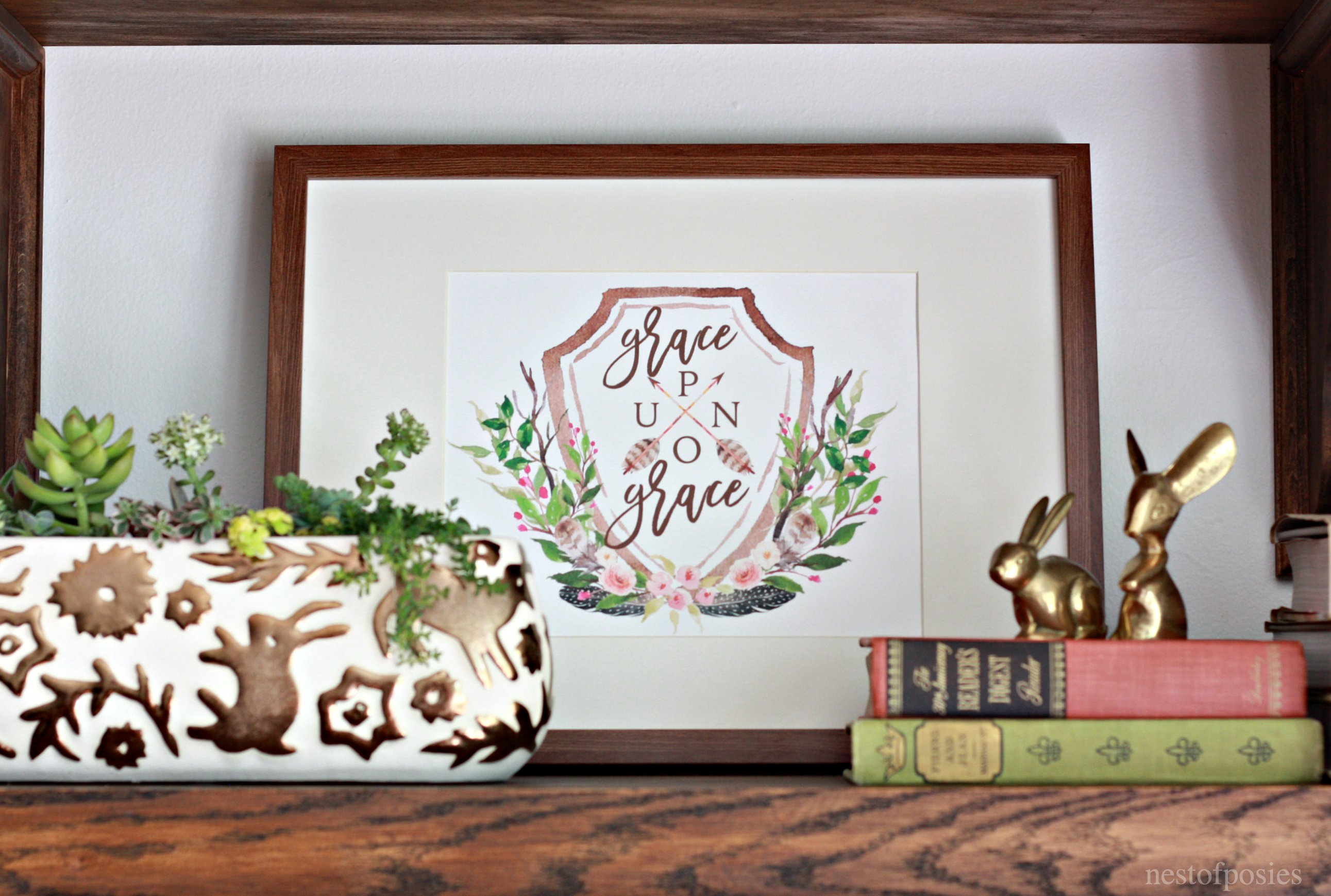 Grace Upon Grace Printable and styling shelves for your home