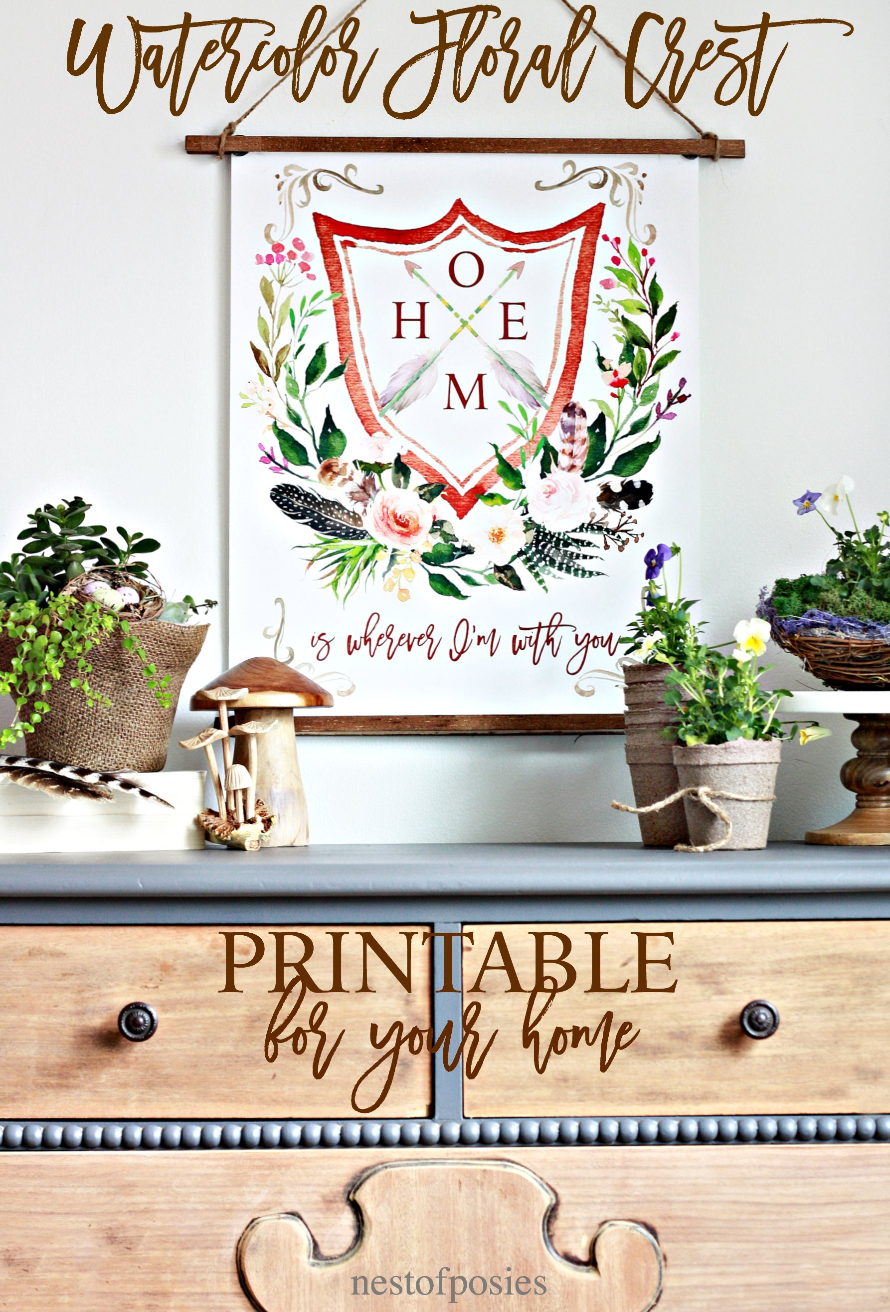 Watercolor Floral Crest Printable for your home.