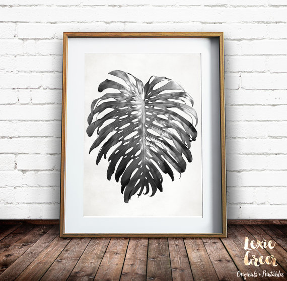 Black and White Leaf Print