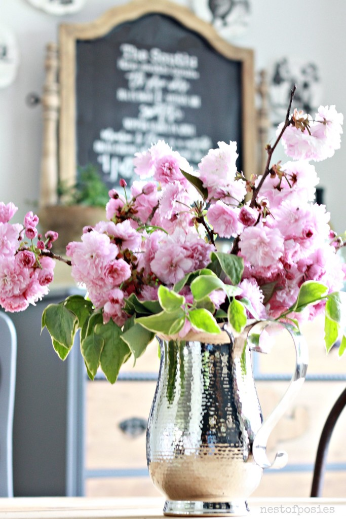 Dining Room Reveal and Peach Tree Blossoms in a pitcher