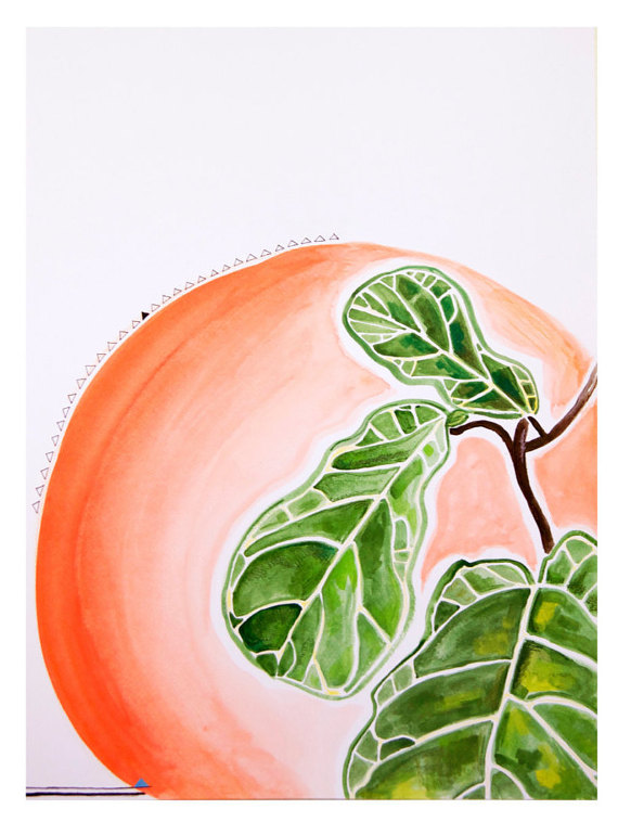 Fiddle Fig Leaf and Peach Painting