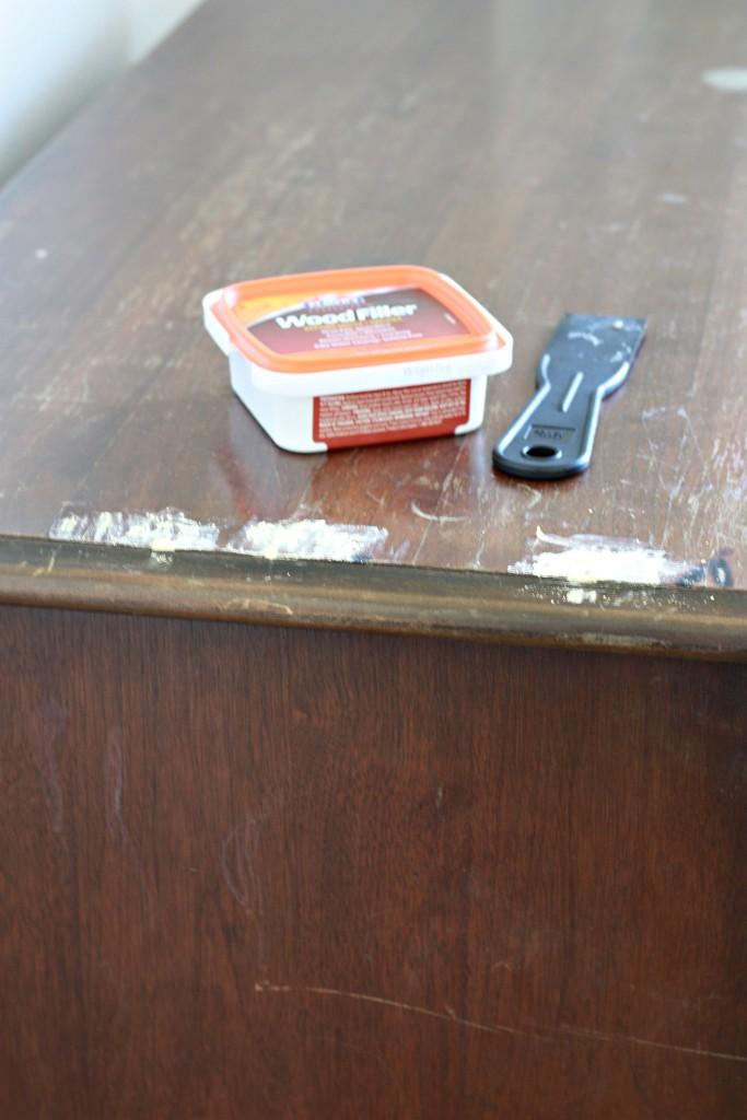 Thrifted Dresser - adding wood filler