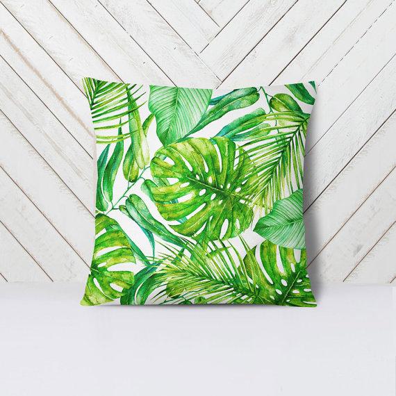 Tropical Palm Leaf Pillow