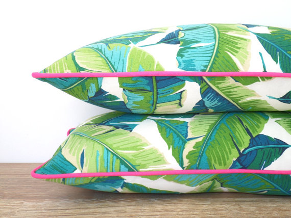 Tropical Palm Leaf Tree Outdoor Pillow
