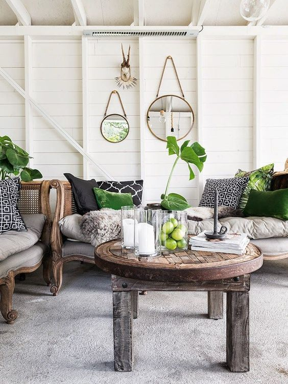 neutral with tropical green decor