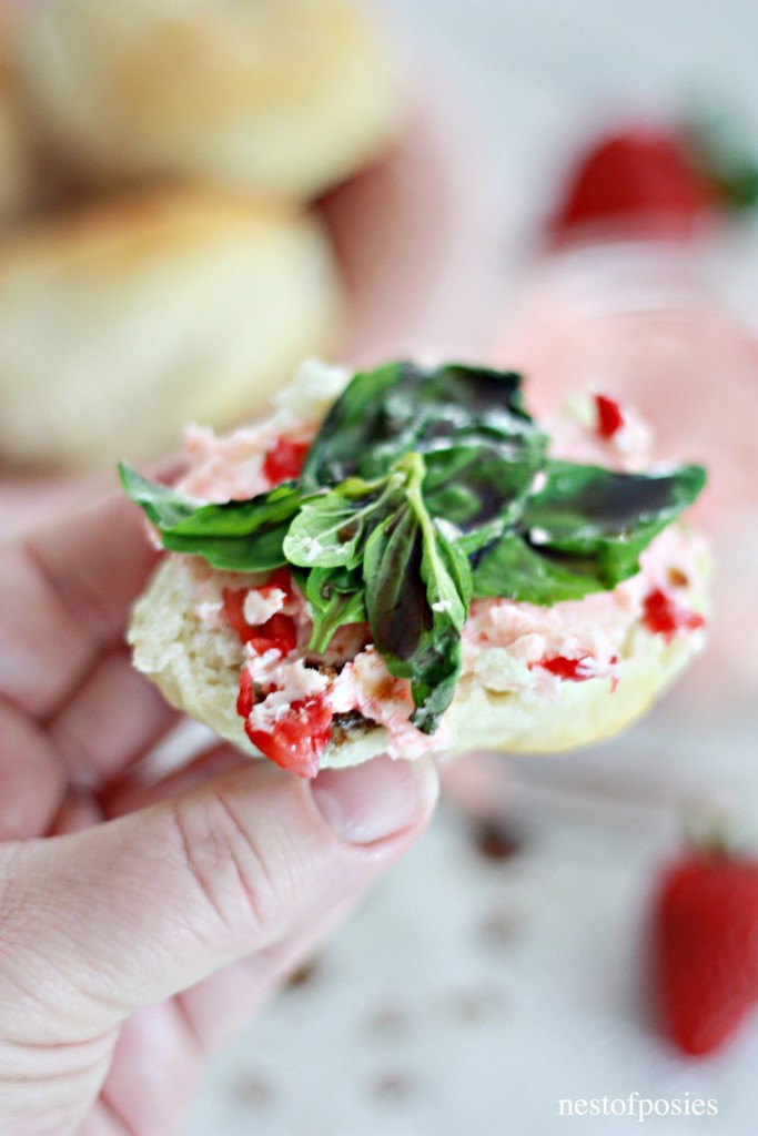 Strawberry Butter Basil Biscuit