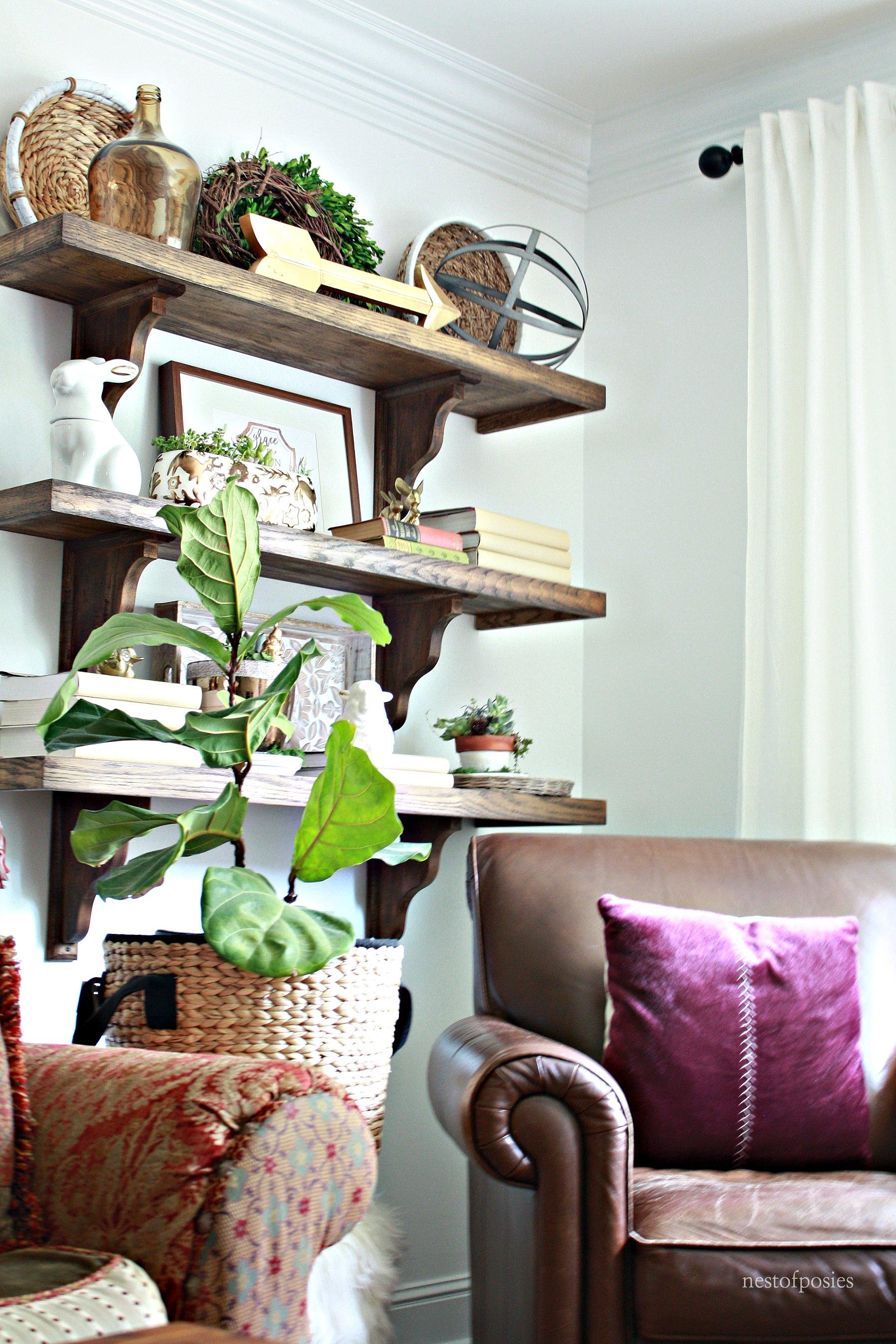 Diy Farmhouse Shelves In The Living Room Nest Of Posies