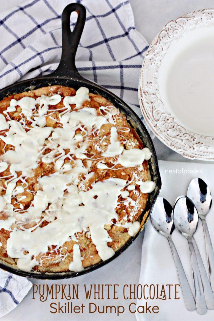 Pumpkin White Chocolate Skillet Dump Cake