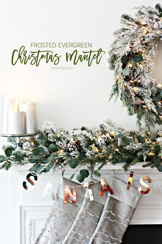 Frosted Evergreen Christmas Mantel