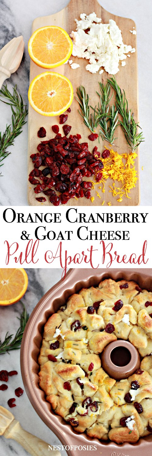Orange Cranberry and Goat Cheese Pull Apart Bread