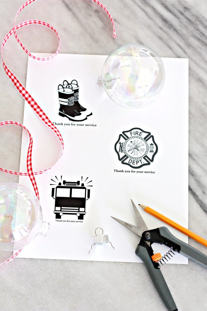 Thank You Silhouette Christmas Ornaments for Firemen