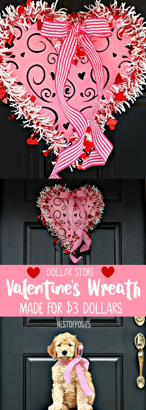 Dollar Store Valentine's Wreath made for $3 dollars