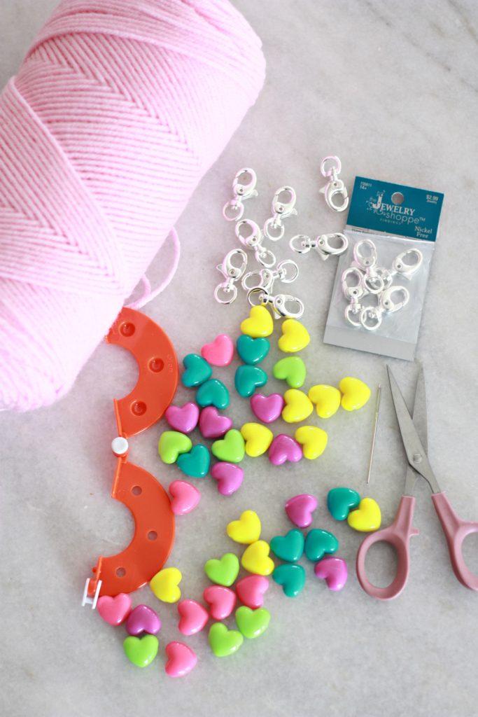 GALentine Pom Pom Key Chains and Printable Tags