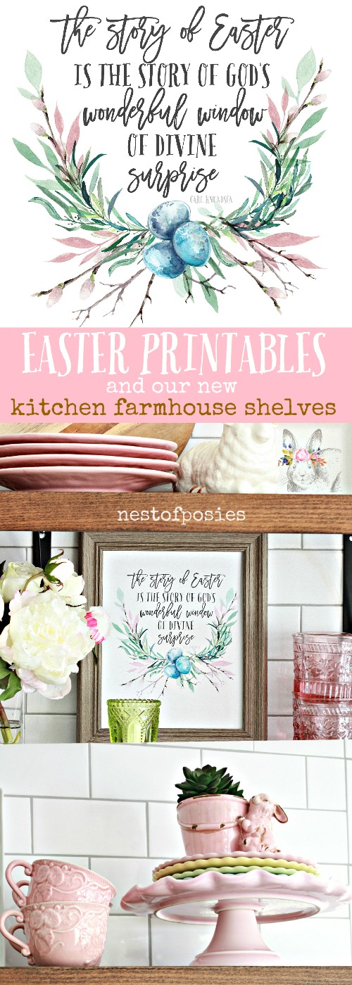 Easter Printables And Our New Kitchen Farmhouse Shelves