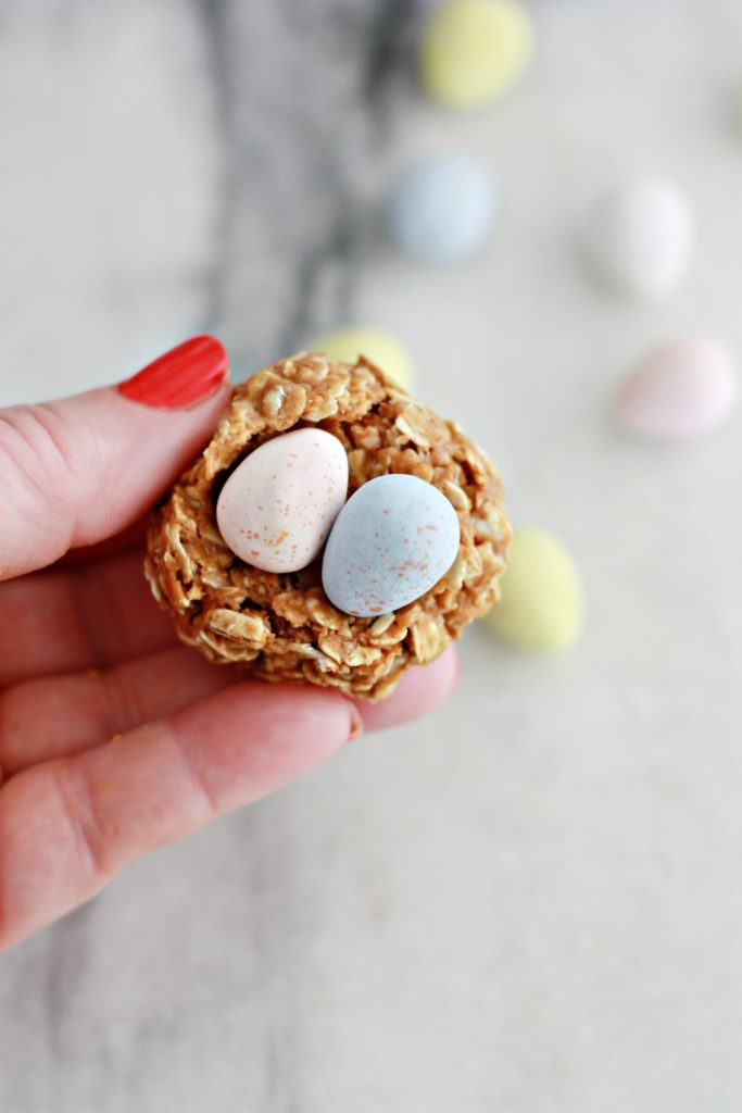 No Bake Biscoff Granola Bar Egg Nests