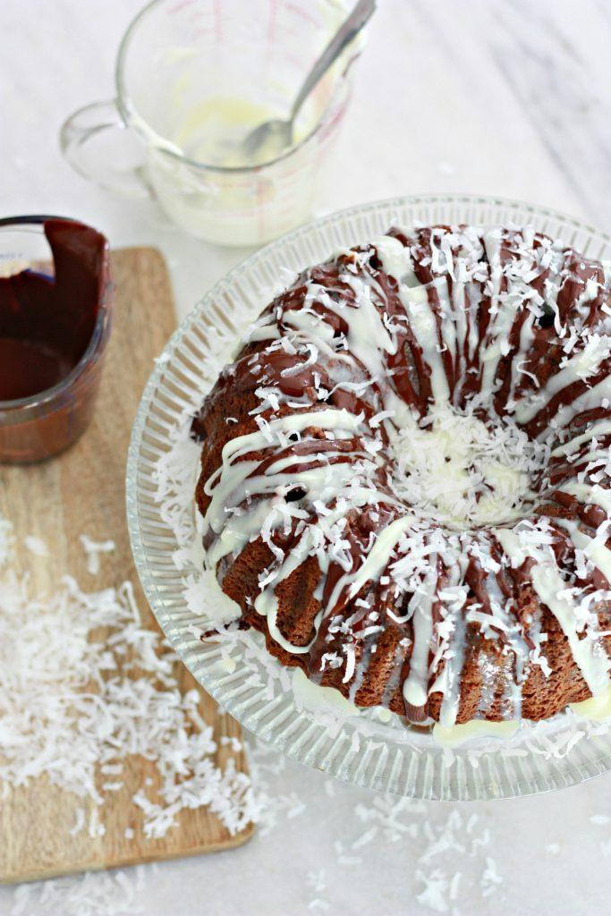 Chocolate Mounds Poke Cake