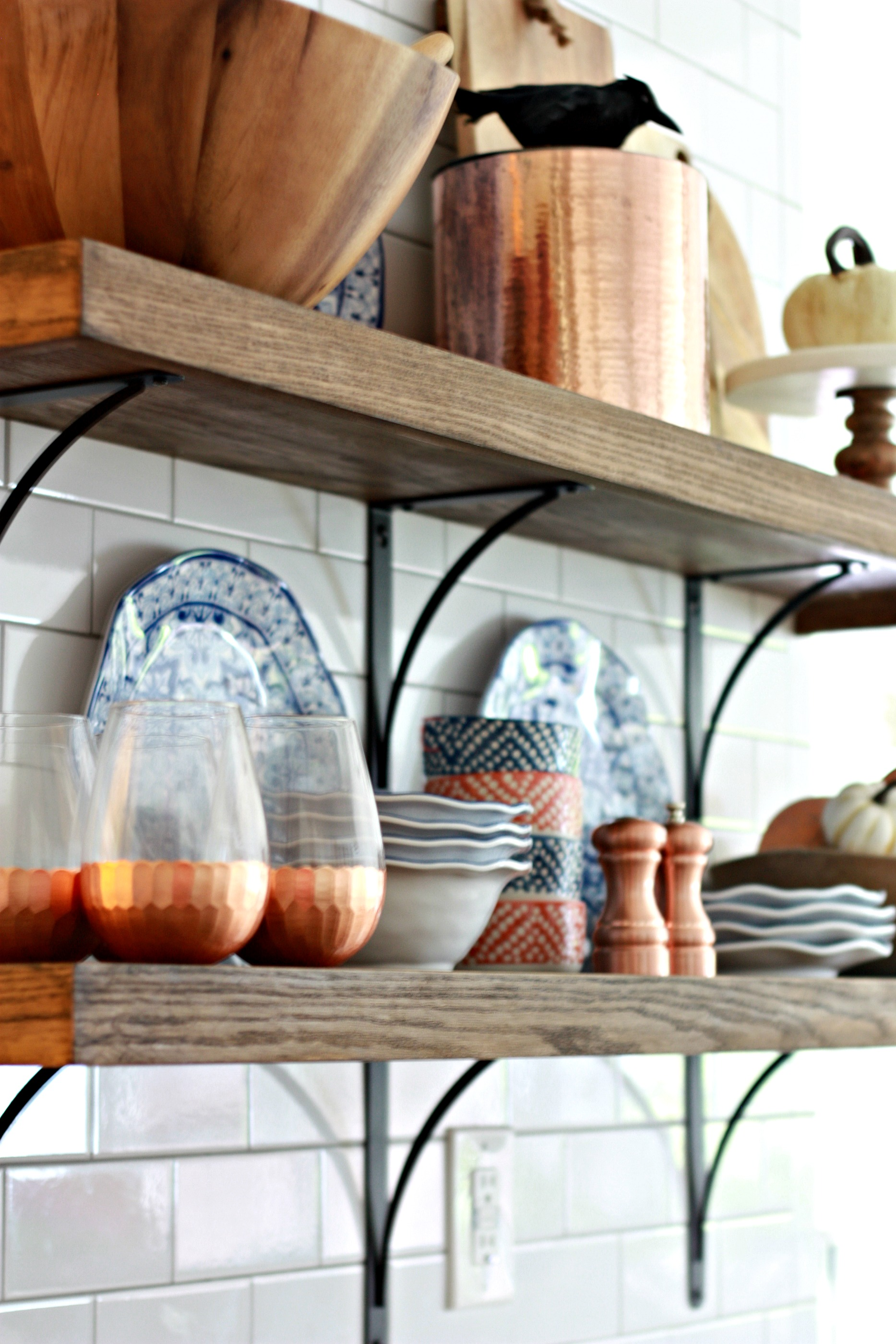 Adding Fall Decor to our Open Shelving in the Kitchen