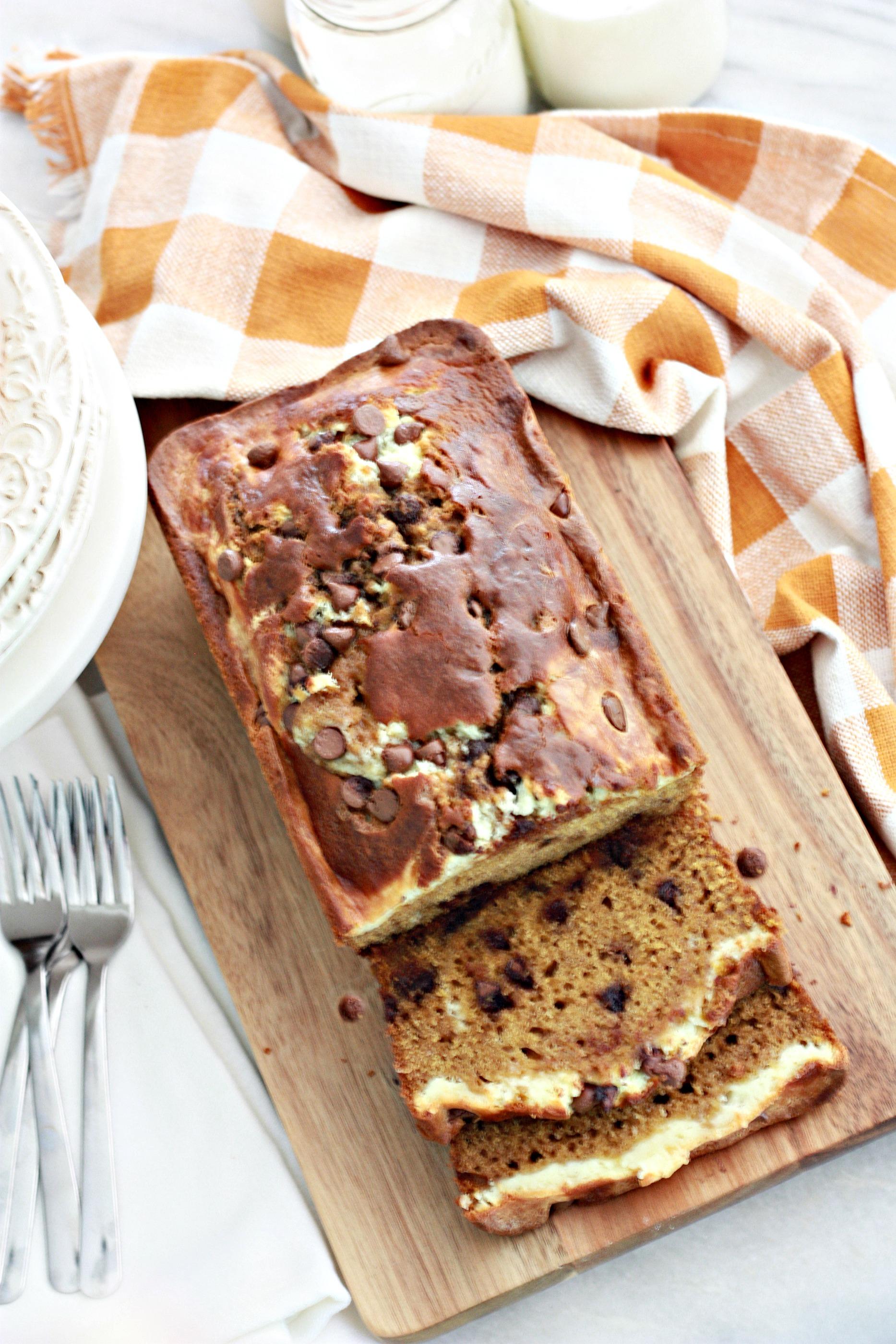 Pumpkin Chocolate Chip Cream Cheese Bread