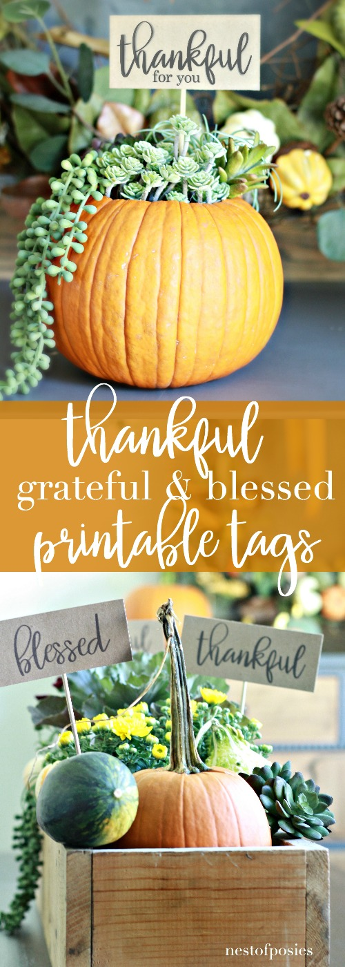 Thankful Grateful Blessed Gift and Home Decor Printable Tags