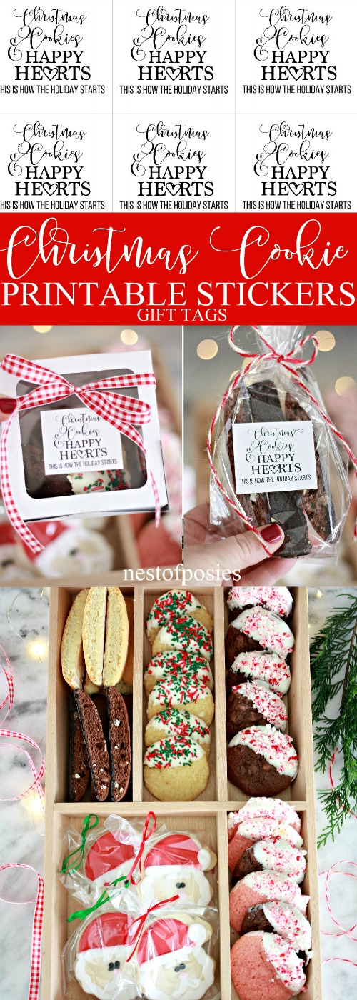 Christmas Cookie Sticker Tag Printables