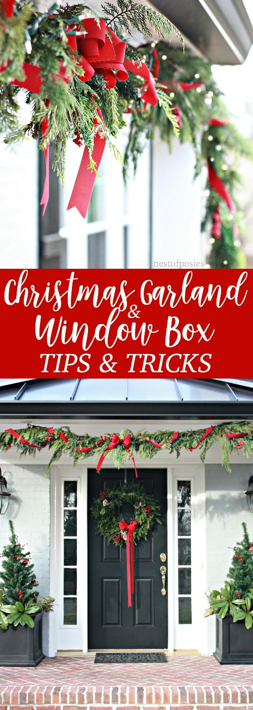 how to decorate christmas window boxes and outdoor garland - Window Box Christmas Decorations