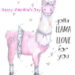 Llama Llove Valentine Card Printable