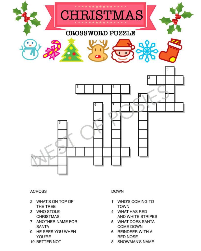 picture regarding Christmas Crossword Puzzle Printable referred to as Xmas Term Puzzle Printables for Small children - Nest of Posies