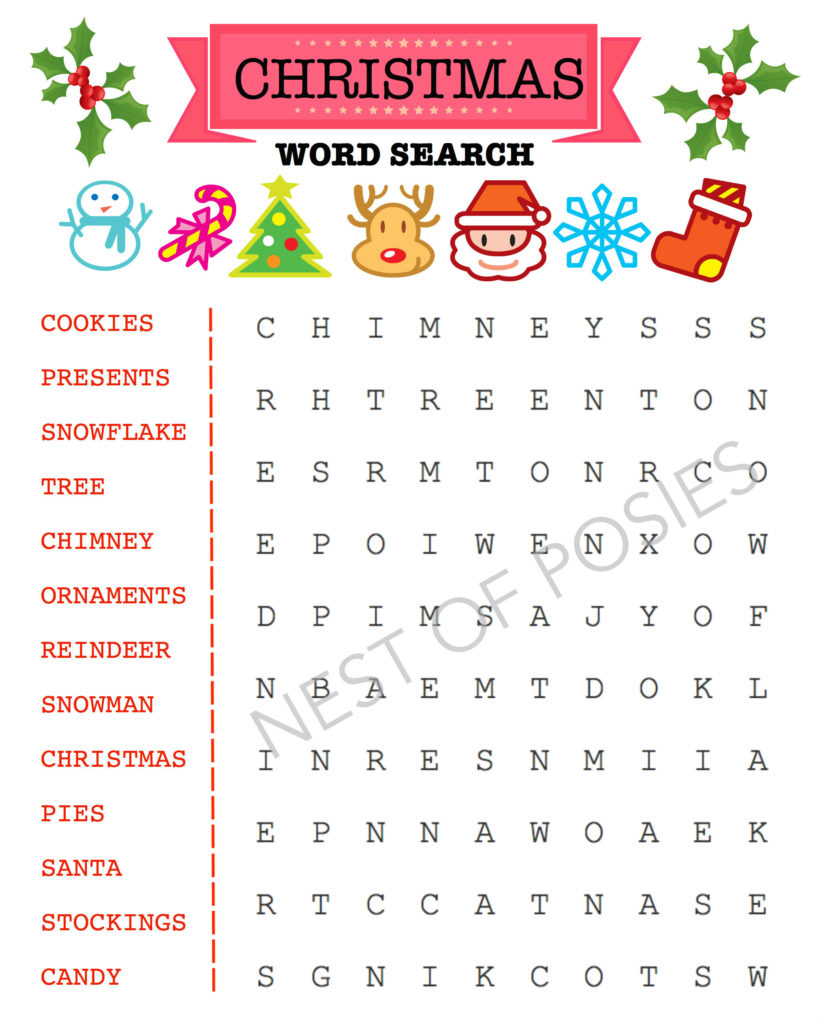 Christmas Word Puzzle Printables for Kids - Nest of Posies