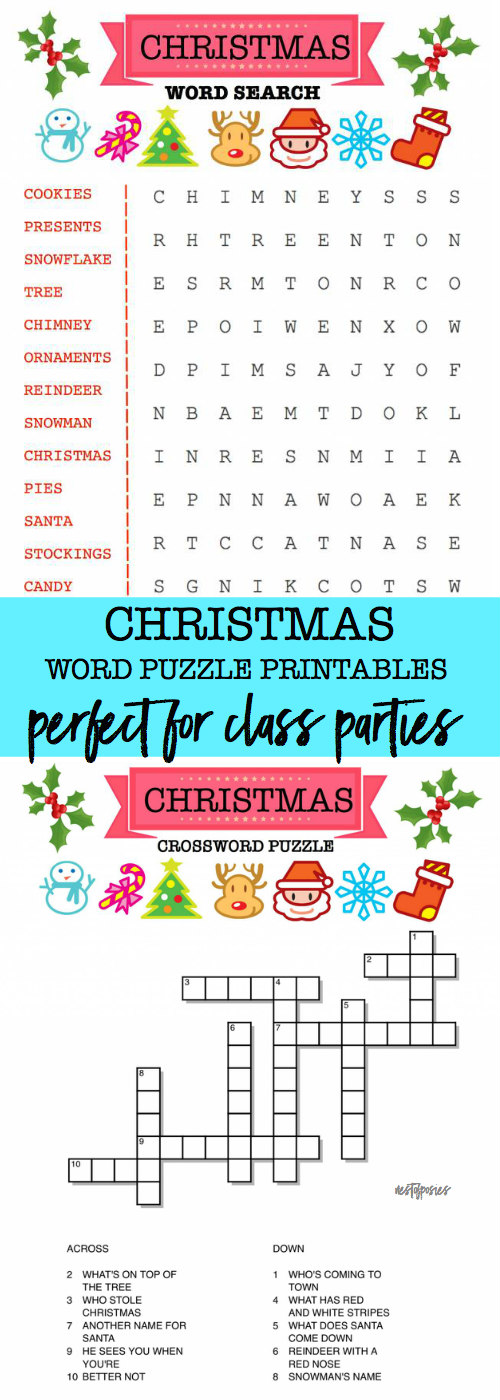 photograph regarding Name Puzzle Printable called Xmas Phrase Puzzle Printables for Small children - Nest of Posies