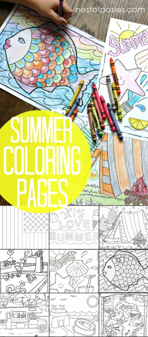 Summertime Coloring Sheets Archives Nest Of Posies